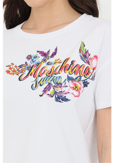 T-shirt donna bianca moschino a manica corta con stampa acquerello frontale MOSCHINO | T-shirt | A190621160001