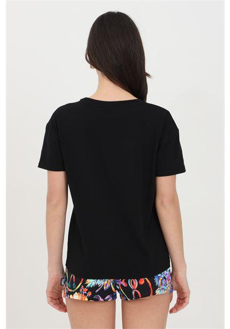 T-shirt donna nera moschino a manica corta con stampa acquerello frontale MOSCHINO   T-shirt   A190621160555