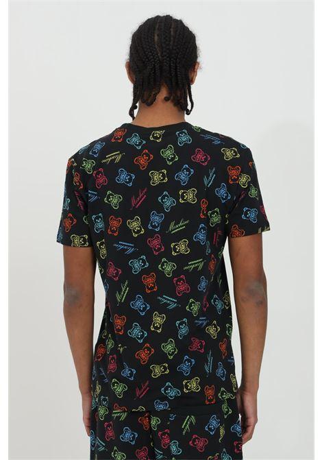 T-shirt uomo nera moschino a manica corta con stampa bear all-over MOSCHINO | T-shirt | A190681081555