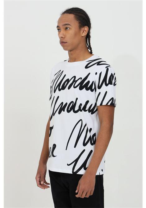 T-shirt uomo bianca moschino a manica corta con stampa monogram all-over MOSCHINO | T-shirt | A190781121001