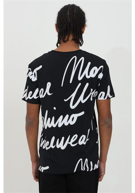 T-shirt uomo nera moschino a manica corta con stampa monogram all-over MOSCHINO | T-shirt | A190781121555