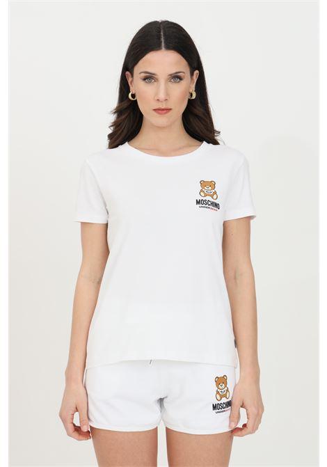 T-shirt donna bianca moschino a manica corta con stampa orso frontale MOSCHINO | T-shirt | A191290210001