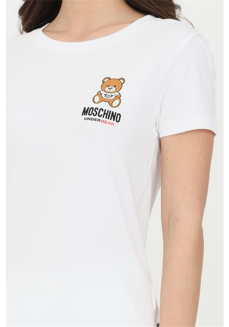 White t-shirt with bear print on the front, short sleeves. Moschino MOSCHINO | T-shirt | A191290210001