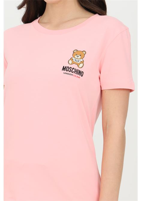 Pink t-shirt with bear print on the front, short sleeves. Moschino MOSCHINO | T-shirt | A191290210181