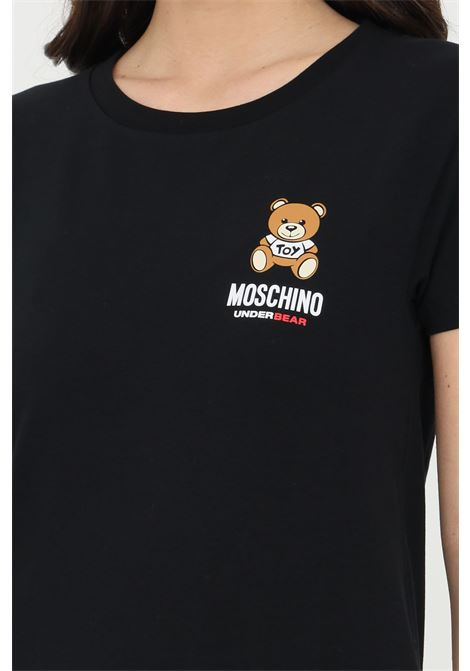 Black t-shirt with bear print on the front, short sleeves. Moschino MOSCHINO | T-shirt | A191290210555