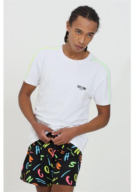 T-shirt uomo bianca moschino a manica corta modello basic con bande multicolor e logo frontale MOSCHINO | T-shirt | A191423160001