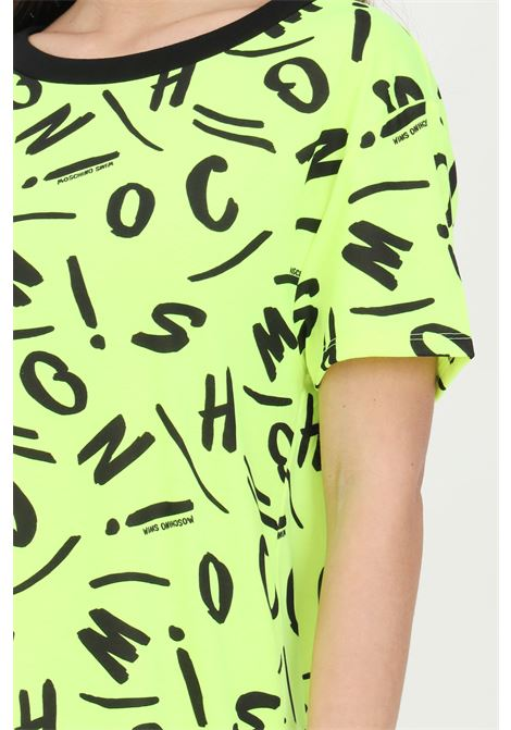 Yellow dress with allover pattern print, short sleeves. Moschino MOSCHINO | T-shirt | A191521351026
