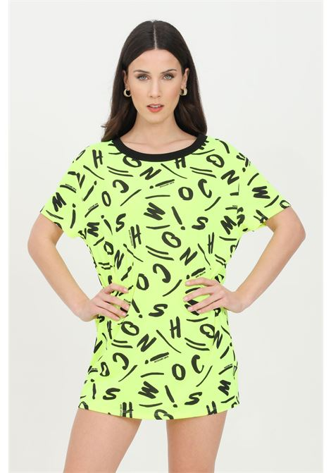 Abito donna giallo fluo moschino corto con stampa pattern allover MOSCHINO | T-shirt | A191521351026