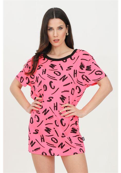 Abito donna fucsia fluo moschino corto con stampa pattern allover MOSCHINO | T-shirt | A191521351206