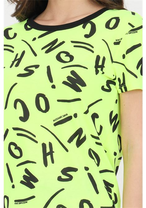 Yellow t-shirt with allover pattern print, short sleeves. Moschino MOSCHINO | T-shirt | A191621351026