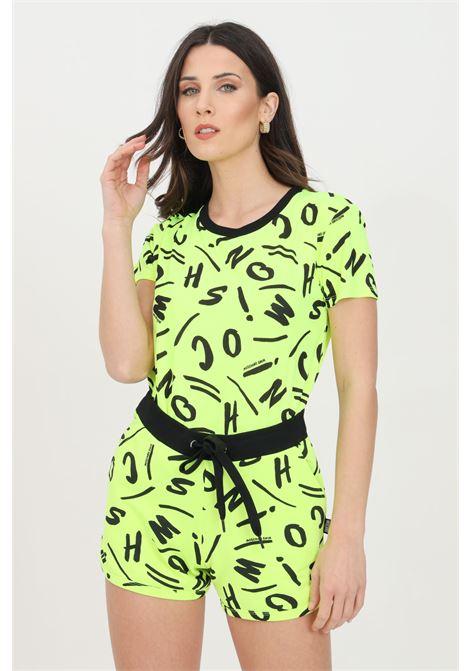 T-shirt donna giallo fluo moschino a manica corta con stampa pattern allover MOSCHINO | T-shirt | A191621351026