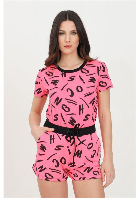 T-shirt donna fucsia fluo moschino a manica corta con stampa pattern allover MOSCHINO | T-shirt | A191621351206