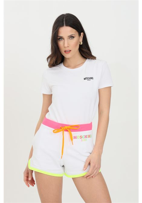 White t-shirt with short sleeves and printed logo on the front. Moschino MOSCHINO | T-shirt | A191921160001