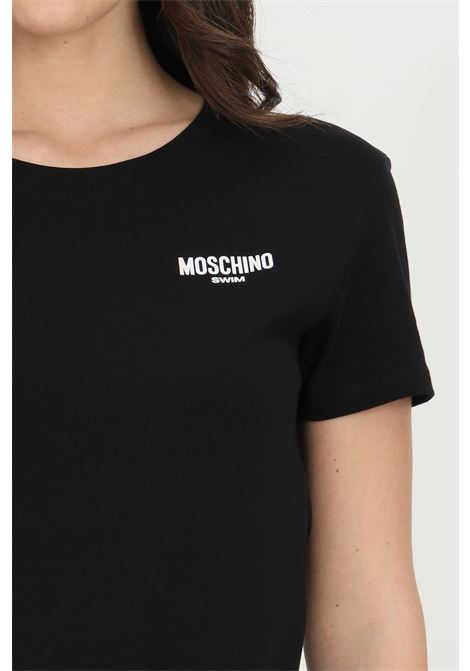 Black t-shirt with short sleeves and printed logo on the front. Moschino MOSCHINO | T-shirt | A191921160555