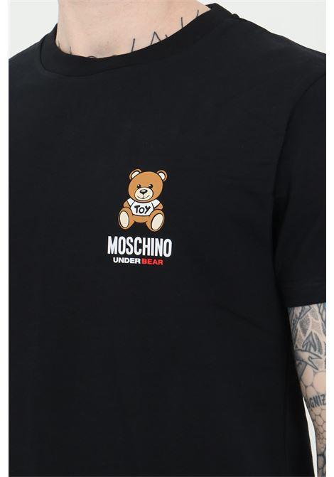T-shirt uomo nera moschino a manica corta modello basic con stampa bear frontale MOSCHINO | T-shirt | A192481210555
