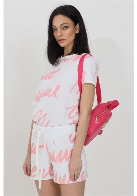 T-shirt donna bianca moschino a manica corta con maxi stampa lettering MOSCHINO   T-shirt   A192890121181
