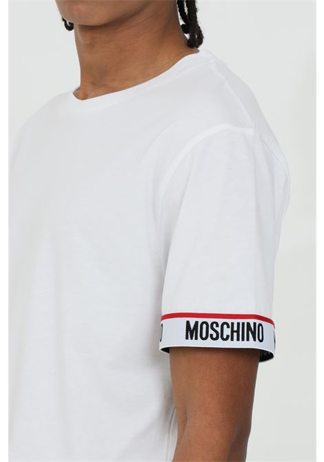 White t-shirt with logo bands on the sleeves. Regular fit. Moschino MOSCHINO | T-shirt | A192981250001