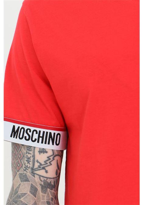 T-shirt basic girocollo con banda logata alle maniche MOSCHINO | T-shirt | A192981250113