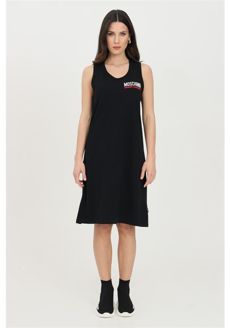 Black dress with front logo. Comfortable model. Moschino MOSCHINO | Dress | A400390210555