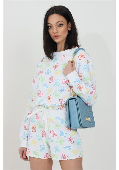Shorts donna bianco moschino casual con molla in vita e stampa pattern bears MOSCHINO   Shorts   A430590091001