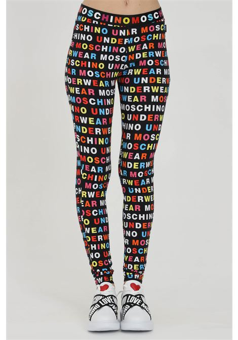 Leggings con stampa pattern lettering MOSCHINO | Leggings | A430890071555
