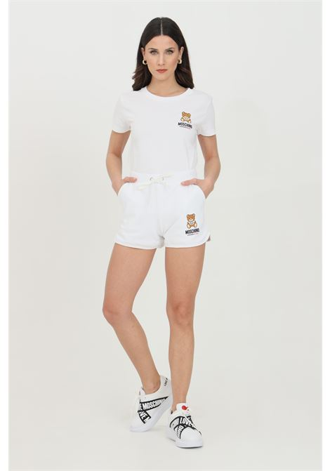 White shorts with bear print, elasticated waist with drawstring and two front pockets. Moschino MOSCHINO | Shorts | A431090200001
