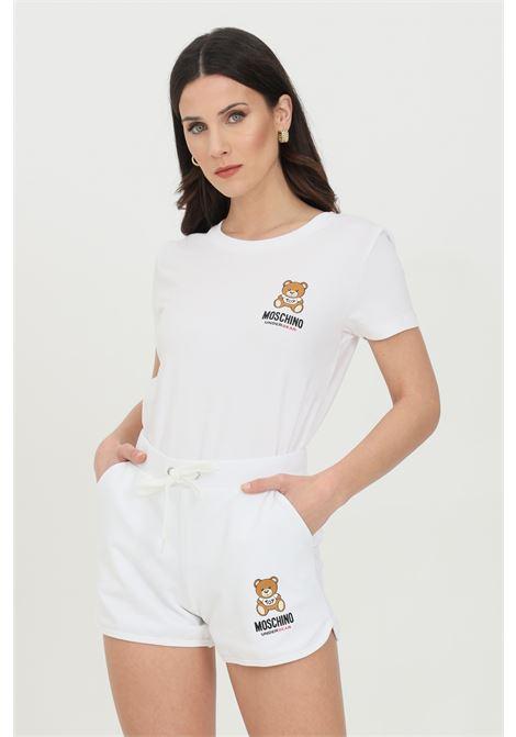Shorts donna bianco moschino casual con stampa bear, vita elasticizzata con coulisse e due tasche frontali MOSCHINO | Shorts | A431090200001