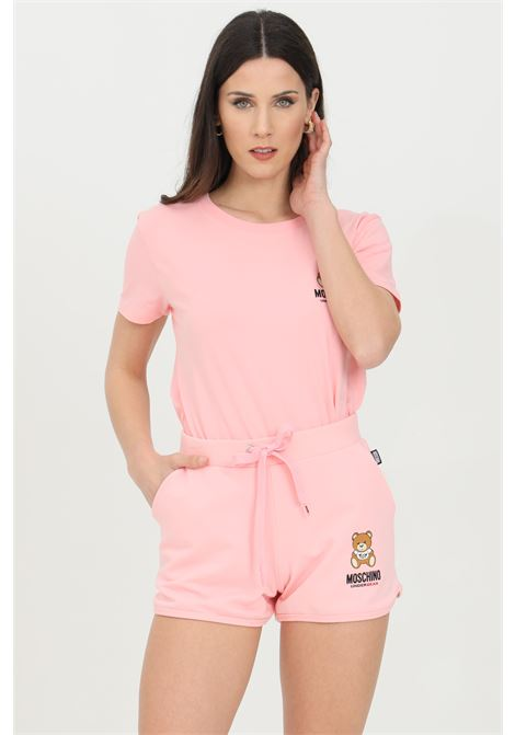 Pink shorts with bear print, elasticated waist with drawstring and two front pockets. Moschino MOSCHINO | Shorts | A431090200181