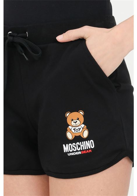 Black shorts with bear print, elasticated waist with drawstring and two front pockets. Moschino MOSCHINO | Shorts | A431090200555