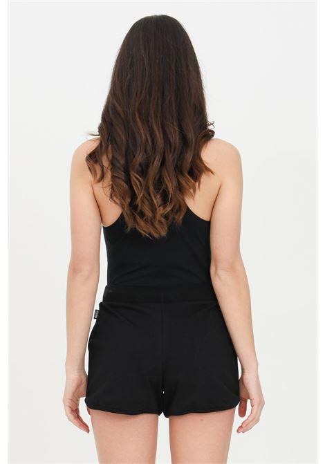Shorts donna nero moschino casual con stampa bear, vita elasticizzata con coulisse e due tasche frontali MOSCHINO | Shorts | A431090200555