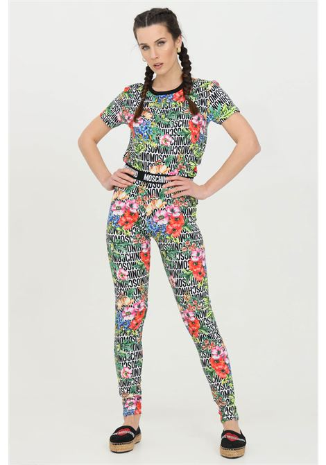 Multicolor leggings with lettering and flower print. Slim model. Moschino MOSCHINO | Leggings | A431590221001