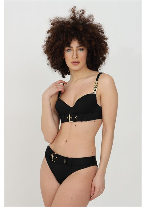 Black sea top with gold buckle on the front, strap with logo. Clip closure. Moschino MOSCHINO | Beachwear | A573655080555