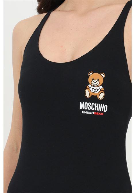 Body donna nero moschino casual con logo bear frontale MOSCHINO | Body | A600690210555