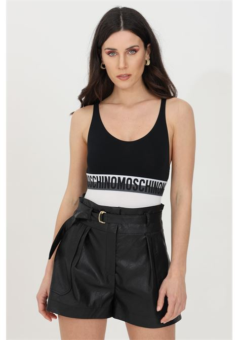 Black body with logo band at the waist and deep neckline. Closure with slippers. Moschino MOSCHINO | Body | A600890211555