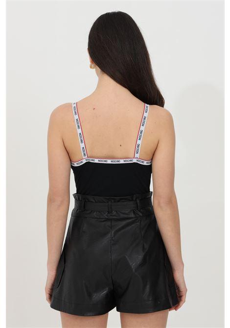 Body donna nero moschino casual in tinta unita con bande logate a contrasto. Bretelle fisse logate, schiena scoperta e chiusura con ciappette MOSCHINO | Body | A601190210555
