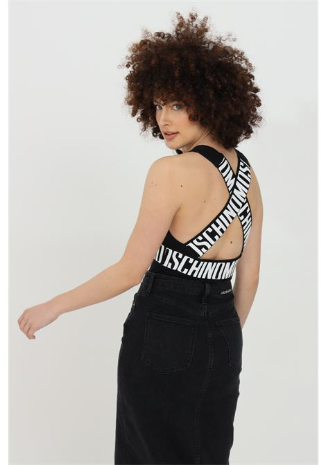 Black body with v-neck and logo lettering. Braces with logo on the back. Moschino MOSCHINO | Body | A601590210555