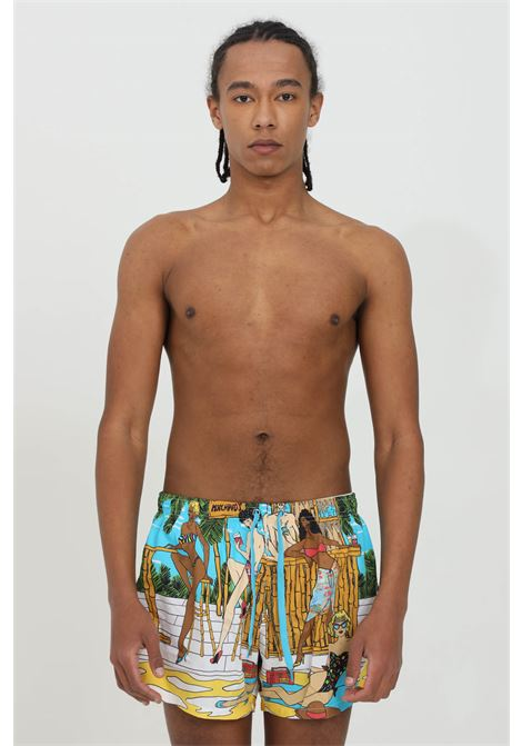 Pantaloncini con stampa summer e rete interna MOSCHINO | Beachwear | A614256038888