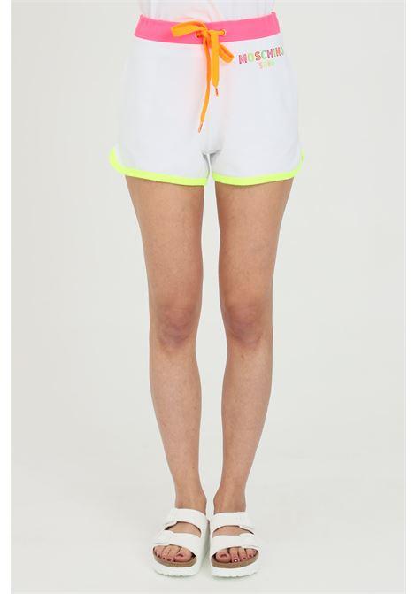 Shorts donna bianco moschino casual con bande multicolor, chiusura con coulisse, ricamo con logo frontale e due tasche laterali a soffietto MOSCHINO | Shorts | A670221170001