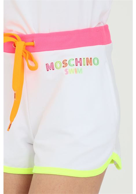 Adidas women's white shorts with logoed bands MOSCHINO | Shorts | A670221170001