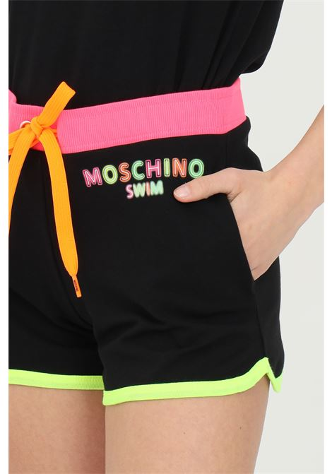 Black shorts with multicolor bands, drawstring closure, embroidery with front logo and two side pockets. Moschino MOSCHINO | Shorts | A670221170555