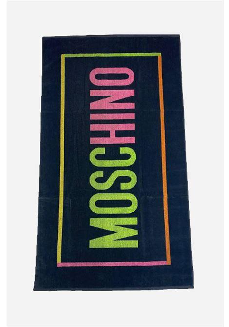Telo mare nero multicolor moschino con maxi logo lettering MOSCHINO | Telo mare | A740159491555
