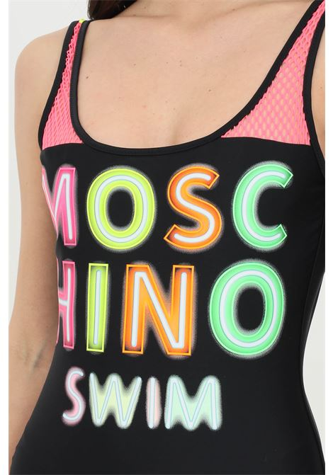 Beachwear donna nero moschino costume intero in tinta unita con maxi logo multicolor MOSCHINO | Beachwear | A811352110555
