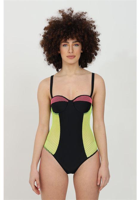 Costume intero con inserti in rete bicolore MOSCHINO | Beachwear | A811452110555
