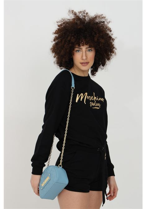 Crew neck sweatshirt with long sleeves and gold logo on the front MOSCHINO | Sweatshirt | V170821240555