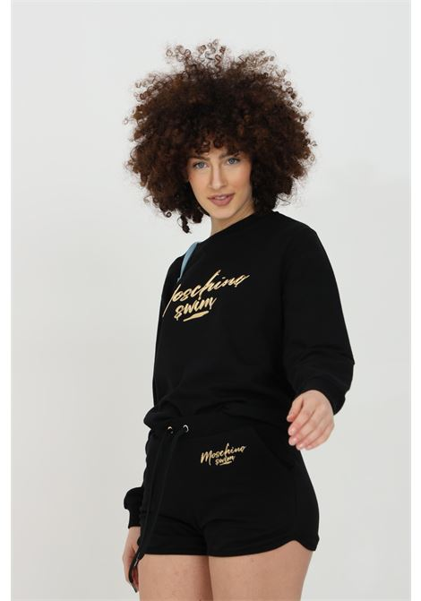 Black sweatshirt with long sleeves and gold logo on the front. Regular model. Ribbed crew neck, cuffs and bottom. Moschino MOSCHINO | Sweatshirt | V170821240555