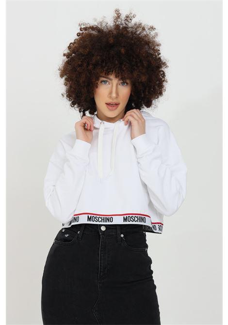 White hoodie with logo band, short cut. Long sleeves. Moschino MOSCHINO | Sweatshirt | V172190200001