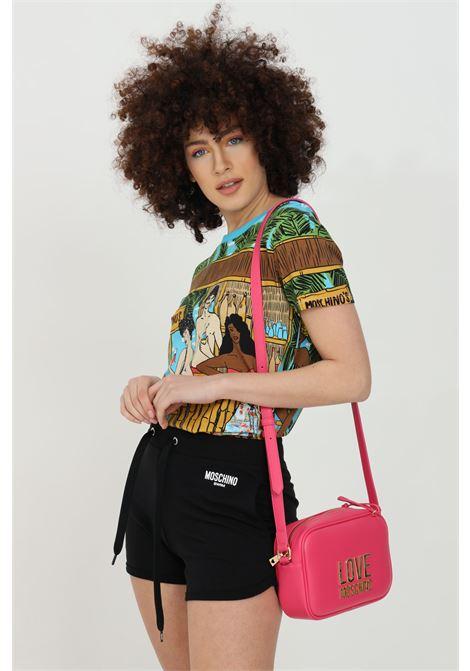 Multicolor t-shirt with maxi summer print, short sleeves. Moschino MOSCHINO | T-shirt | V191221328888