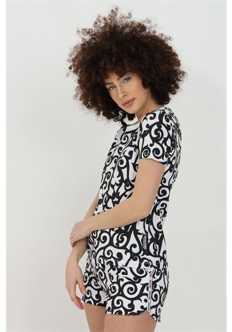 T-shirt donna bianco-nero moschino a manica corta con stampa minimal paisley. Girocollo a costine MOSCHINO   T-shirt   V192390291001