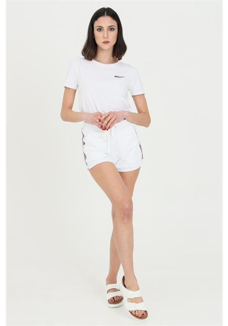 White shorts with logo band on the side and spring at the waist with laces. Moschino MOSCHINO | Shorts | V431290200001