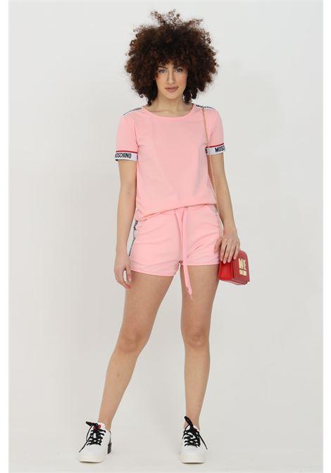 Shorts donna rosa moschino casual con banda logata laterale e molla in vita con lacci MOSCHINO   Shorts   V431290200181